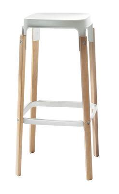Furniture - Bar stools - Steelwood Bar stool - Wood & metal - H 78 cm by Magis - Natural beech / White - Beechwood, Varnished steel