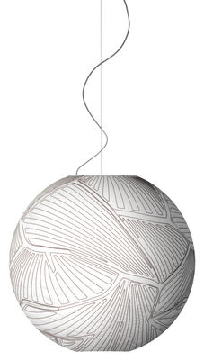 Lighting - Pendant Lighting - Planet Large Pendant - Large Ø 80 cm - Halogen bulb by Foscarini - White/ Red - Fabric