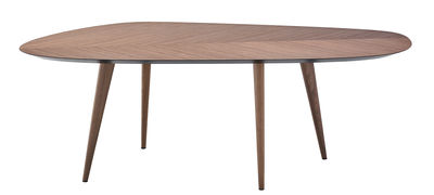 Tendances - Espace Repas - Table Tweed / 213 x 102 cm - Zanotta - Noyer / Dessous plateau : noir - Bois plaqué noyer, Noyer massif