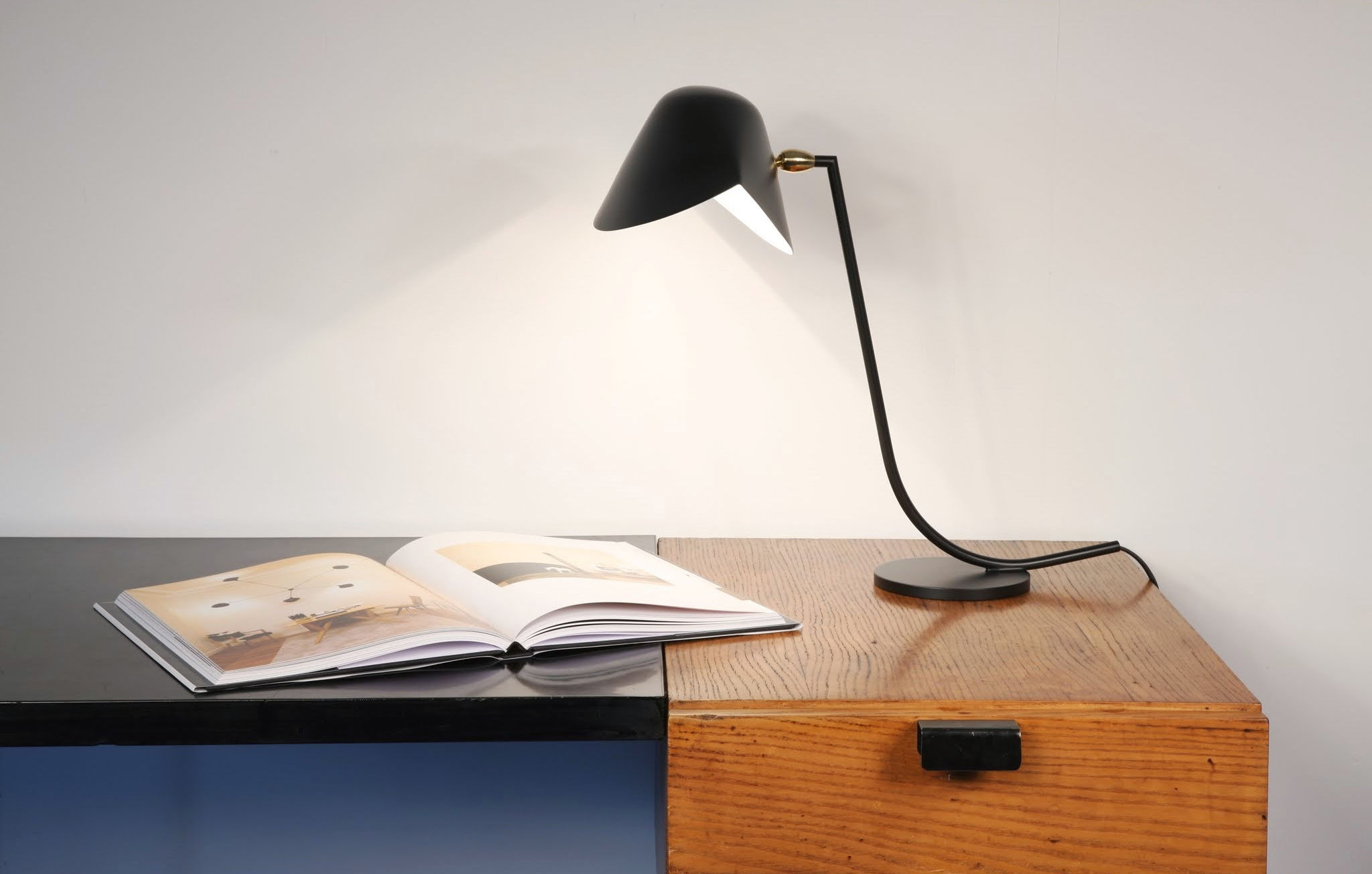 lampe de table antony 1955 noir serge mouille. Black Bedroom Furniture Sets. Home Design Ideas