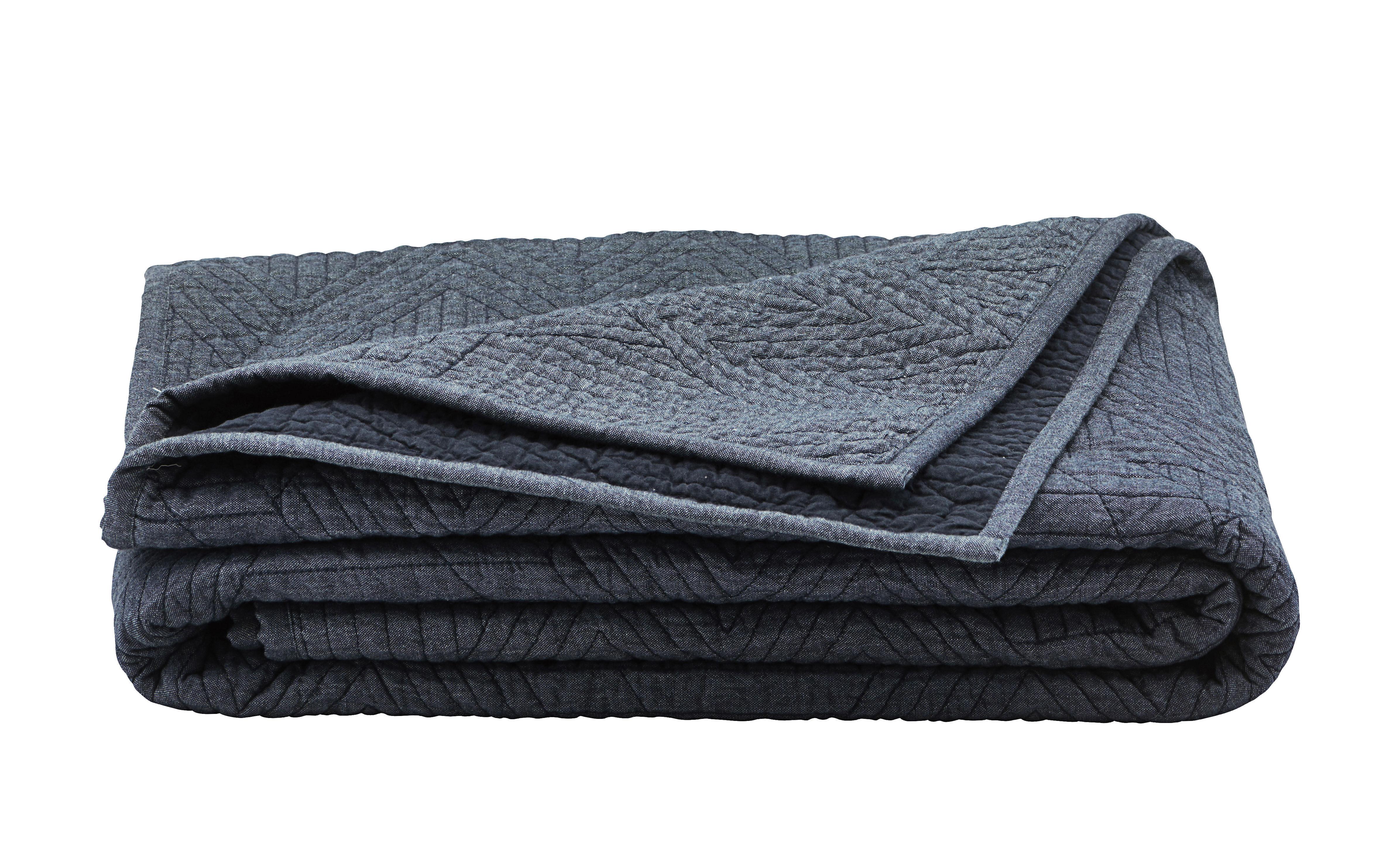Couvre lit tria plaid matelass 140 x 220 cm bleu - Plaid pour lit 140 ...