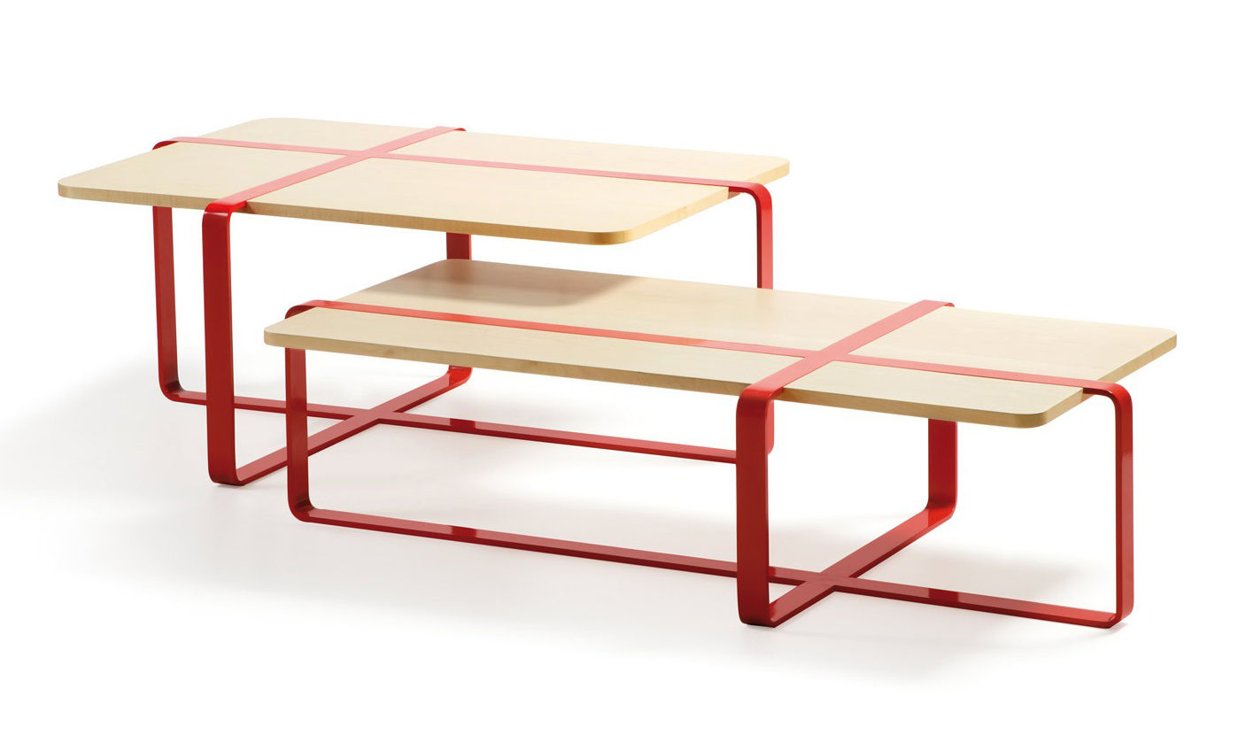 Sake Coffee Table Natural Wood Red Steel By Rs Barcelona