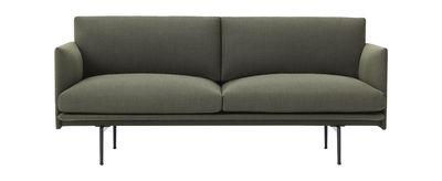 Divano Outline / L 170 cm - Tessuto - Muuto - Verde kaki - Tessuto