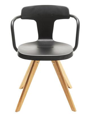Chaise T14 / Métal & pieds bois - Intérieur - Tolix noir,bois naturel en métal