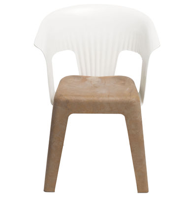 Furniture - Chairs and high armchairs - Madeira Armchair by Skitsch - White back - Natural wood seat - Polycarbonate, Polypropylene, Wood fibres