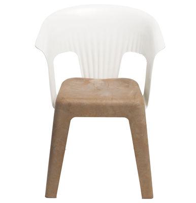Mobilier - Chaises, fauteuils de salle à manger - Fauteuil Madeira - Skitsch - Dossier blanc - Assise marron - Fibres de bois, Polycarbonate, Polypropylène