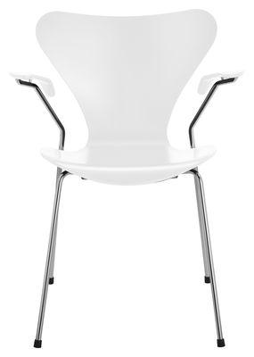 Mobilier - Chaises, fauteuils de salle à manger - Fauteuil Série 7 version frêne - Fritz Hansen - Frêne teinté blanc - Acier, Hêtre