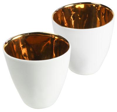 Tasse Assoiffées lot de 2 - Tsé-Tsé blanc,or en céramique