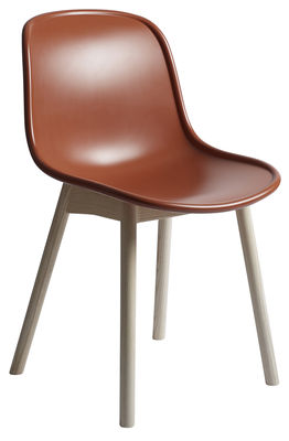 Chaise Neu / Plastique & pieds bois - Hay orange,bois naturel en matière plastique