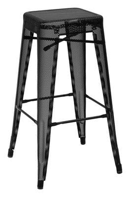 Tabouret de bar H Perforé / H 75 cm - Couleur brillante - Tolix noir brillant en métal