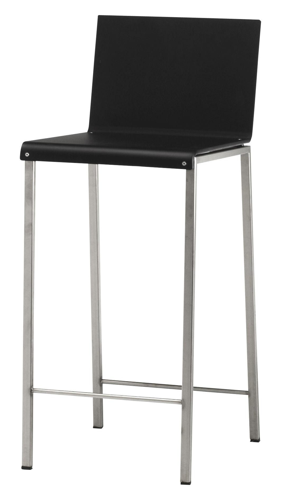 chaise de bar bianco mat h 64 cm noir mat pieds acier h assise 64 cm zeus. Black Bedroom Furniture Sets. Home Design Ideas