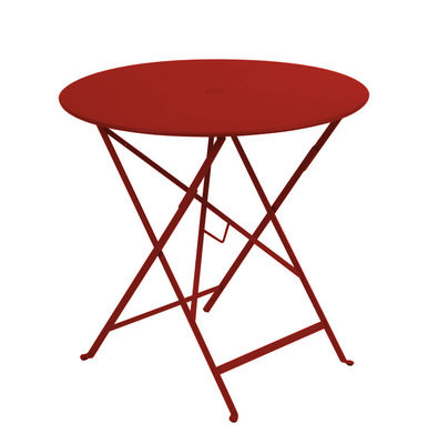 Table pliante Bistro Ø 77cm Trou pour parasol Fermob piment en métal