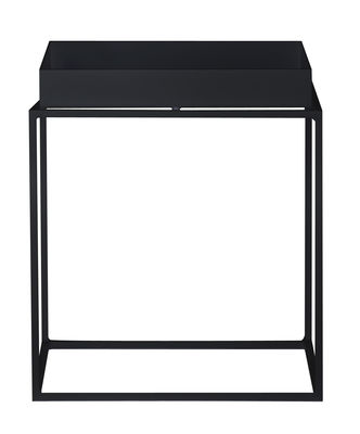 Furniture - Coffee Tables - Tray Coffee table - Square - H 40 cm / 40 x 40 cm by Hay - Black - Lacquered steel