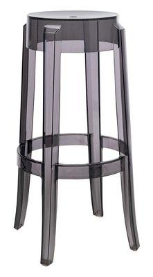 tabouret haut empilable charles ghost h 75 cm plastique fum kartell. Black Bedroom Furniture Sets. Home Design Ideas