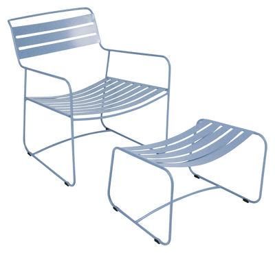 Arredamento - Poltrone design  - Set poltrona e poggiapiedi Surprising Lounger - Set Poltrona + poggiapiedi di Fermob - Turchese - Acciaio