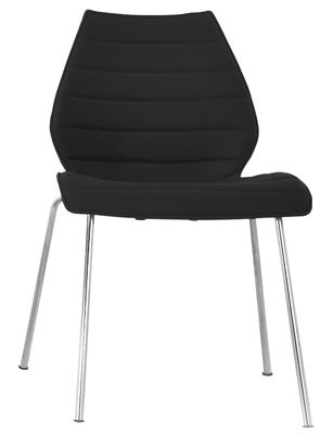 Mobilier - Chaise rembourrée Maui Soft /Tissu Divina - Kartell - Noir - Acier, Polypropylène, Tissu Kvadrat