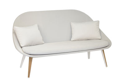 Image of Sofa 2 places Vanity - / imbottita - Tessuto & teck di Vlaemynck - Bianco,Grigio chiaro,Teck - Tessuto
