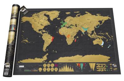 Déco - Objets déco et cadres-photos - Poster Scratch map Deluxe / Carte du monde  à gratter - 82 x 59 cm - Luckies - Noir & Or - Papier