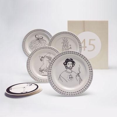 Coffret Designerbox#45 / 4 assiettes Ø 13 cm + sous-bocks - Mrzyk &Moriceau - Designerbox blanc,noir en céramique