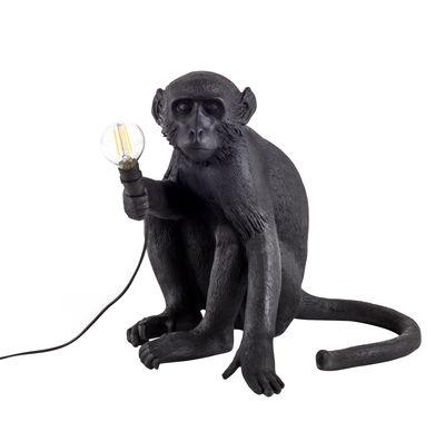 Luminaire - Lampes de table - Lampe de table Monkey Sitting / Outdoor - H 32 cm - Seletti - Noir - Résine