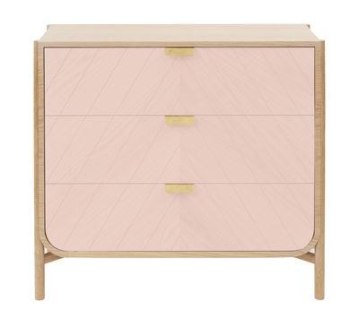 Commode Marius / L 100 x H 90 cm - Hartô rose,chêne naturel,laiton en bois