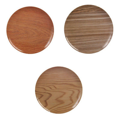 Assiette Bois / Set de 3 - Mélamine - Ø 25 cm - & klevering marron en matière plastique