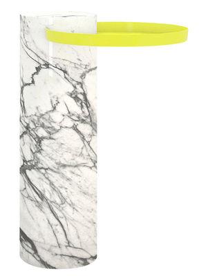 Mobilier - Tables basses - Guéridon Salute / Ø 32 x H 57 cm - Marbre & métal - La Chance - Marbre blanc / Plateau jaune - Acier laqué, Marbre