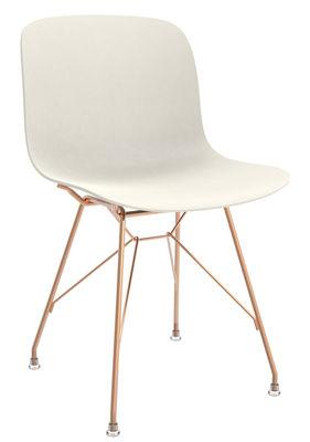 chaise troy plastique pieds fils d 39 acier blanc pieds cuivre magis. Black Bedroom Furniture Sets. Home Design Ideas
