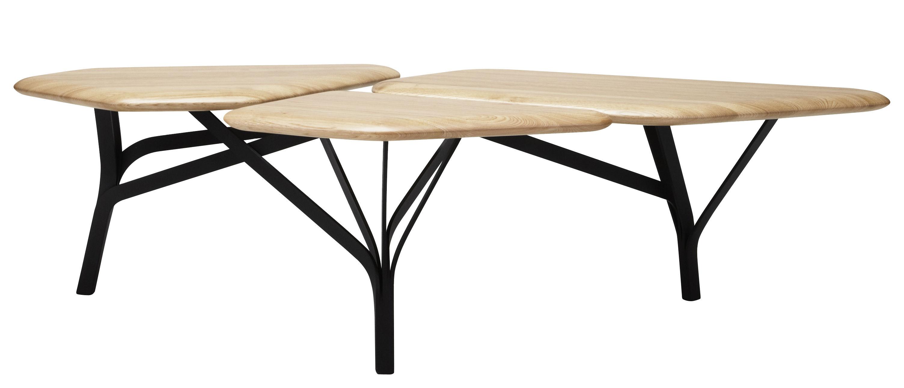 Table basse borghese 139 x 64 cm 3 plateaux ch ne ch ne naturel pieds no - Table basse design 3 pieds ...
