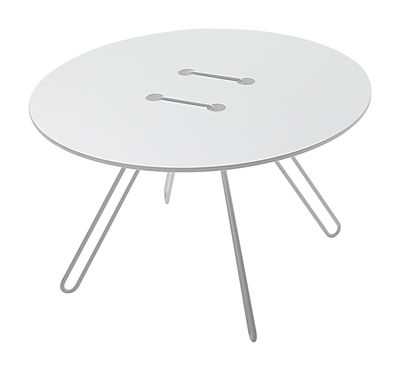 Tavolino Twine - Ø 50 x H 33 cm di Casamania - Bianco - Metallo