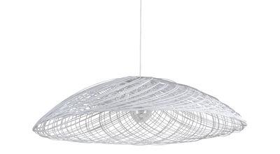 Satélise S Pendelleuchte / Rattan - Ø 45 cm - Forestier - Weiß