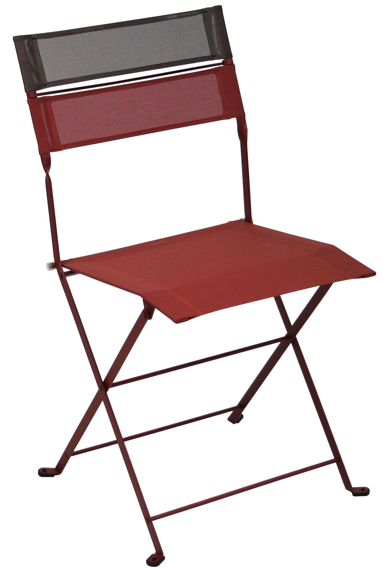 Chaise pliante latitude toile structure piment bandeau rouille fermob - Chaise pliante en toile ...