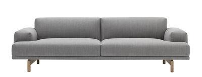 Compose Sofa / 3-Sitzer - L 240 cm - Muuto - Hellgrau,Holz natur