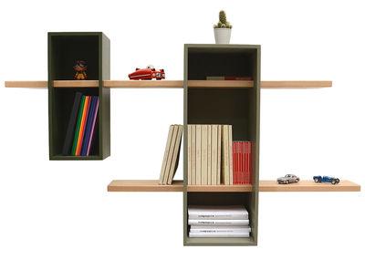 Möbel - Regale und Bücherregale - Max Regal / 2 Boxen + 2 Regalbretter - Compagnie - Moosgrau / olivgrün - Buchenfurnier, mitteldichte bemalte Holzfaserplatte