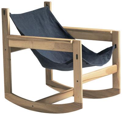 Mobilier - Fauteuils - Rocking chair Pelicano - Objekto - Structure chêne / Housse coton Gris bleu - Chêne, Coton