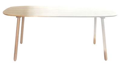 Table Ombree Chêne dégradé blanc L 190 cm ENOstudio blanc,bois naturel en bois