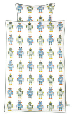 Decoration - Kids - Robot Junior Kid bedlinen set - 1 person - 100 x 140 cm by Ferm Living - 100 x 140 cm / Blue & green robots - White background - Cotton