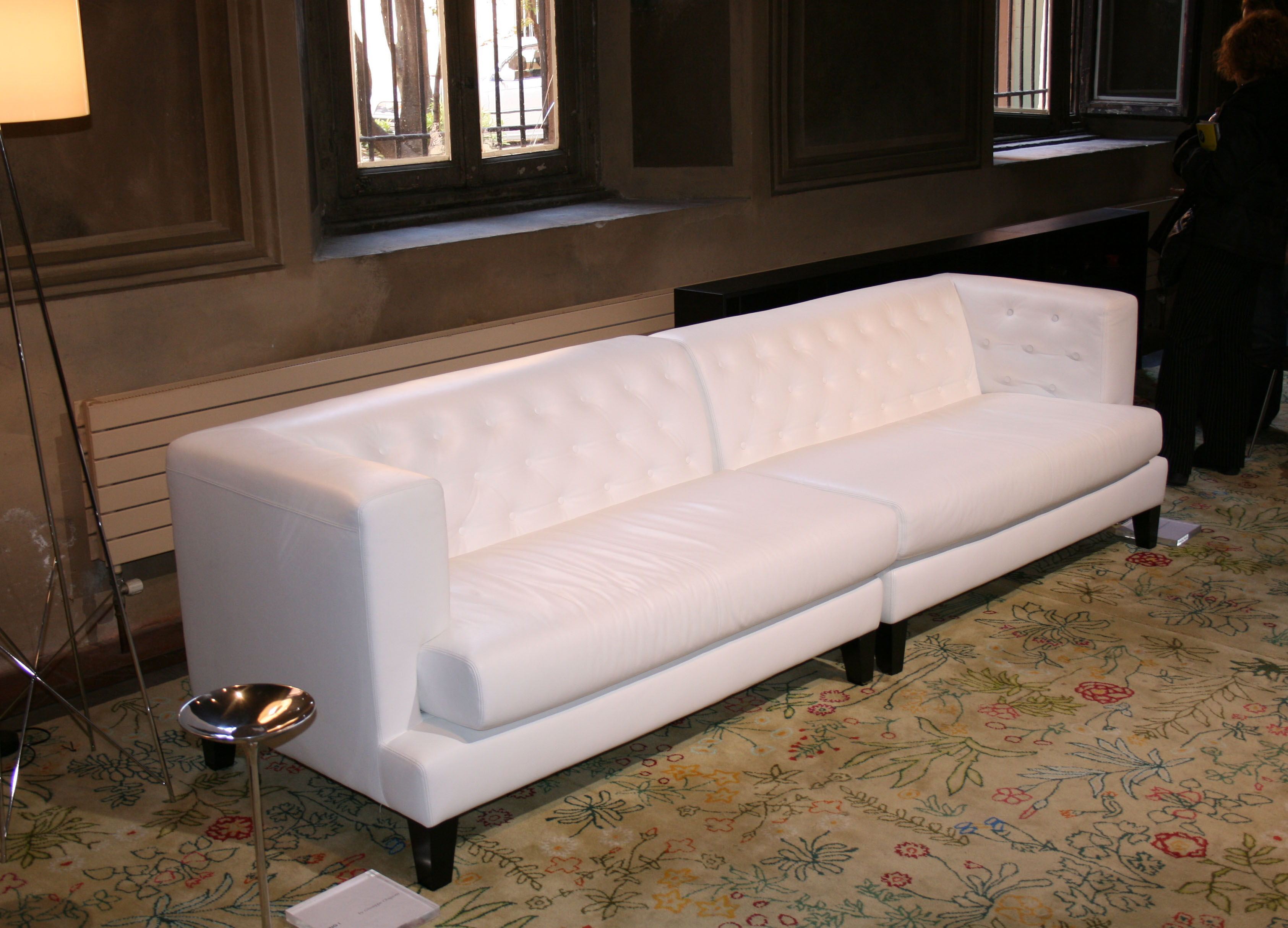 Hall Straight Sofa 3 Seats Leather Version White By Driade