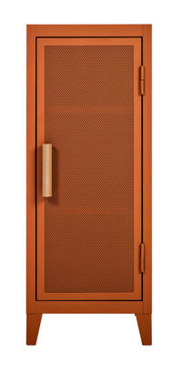 Mobilier - Meubles de rangement - Rangement Vestiaire bas / 1 porte - Acier perforé & bois - Tolix - Terracotta / Poignées chêne - Acier laqué, Chêne massif