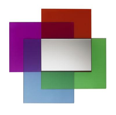 Mobilier - Miroirs - Miroir mural Colour on Colour / 55 x 55 cm - Glas Italia - Bleu clair, rose, rouge & vert - Cristal, Miroir