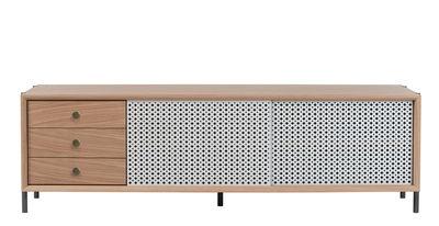 Buffet Gabin - / 3 cassetti - L 162 cm - Metallo traforato di Hartô - Grigio chiaro,Rovere naturale,Ottone - Metallo