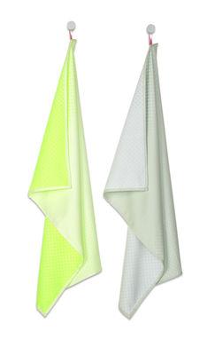 Torchon Block Dots / Set de 2 - Hay vert fluo,vert amande en tissu