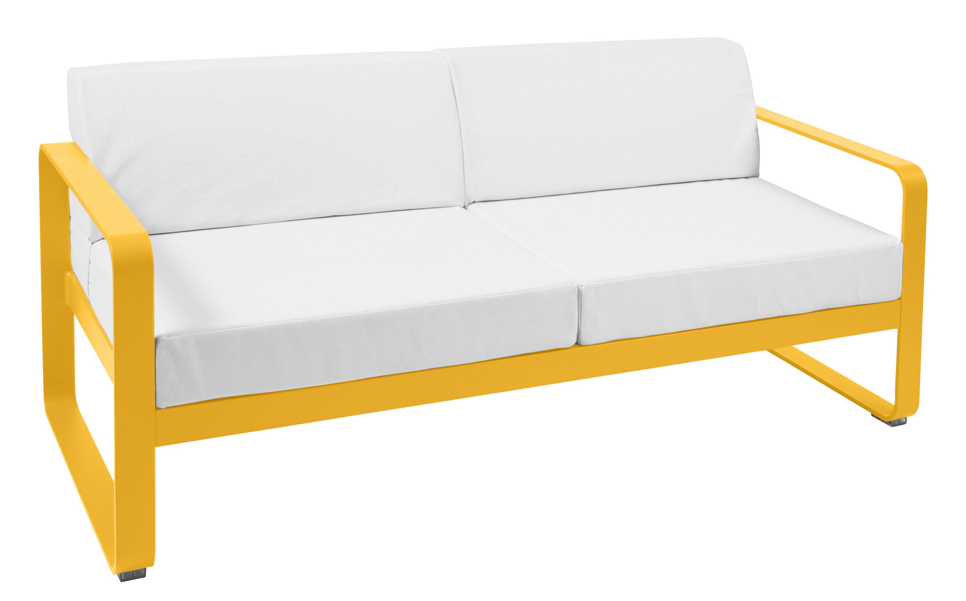 canap droit bellevie 2 places l 160 cm tissu blanc miel tissu blanc fermob. Black Bedroom Furniture Sets. Home Design Ideas