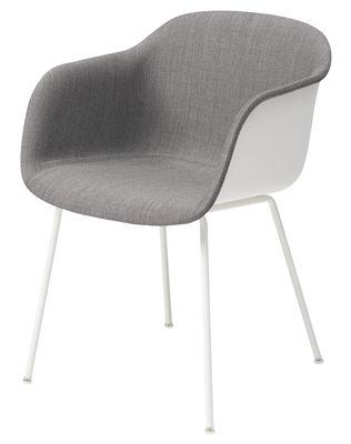 Mobilier - Chaises, fauteuils de salle à manger - Fauteuil rembourré Fiber / Pieds métal - Tissu face interne - Muuto - Blanc / Intérieur gris - Acier, Matériau composite, Tissu Kvadrat