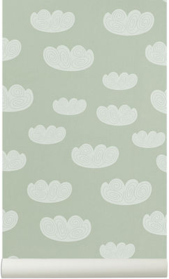 Foto Carta da parati Cloud - 1 striscia / Larg 53 cm di Ferm Living - Verde acqua - Carta