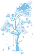 Image of Sticker Blossom Tree di Domestic - Blu - Materiale plastico