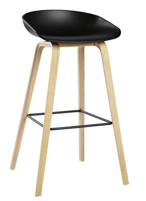 Tabouret de bar About a stool AAS 32 / H 75 cm - Plastique & pieds bois - Hay blanc,bois naturel en matière plastique