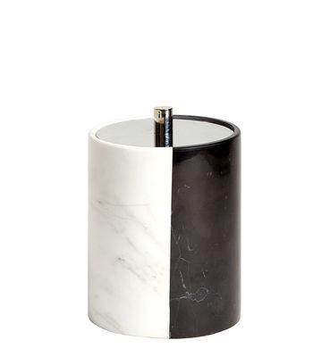 Accessoires - Accessoires salle de bains - Boîte Canaan / Pour coton tiges - Marbre - Jonathan Adler - Noir & blanc - Marbre, Métal nickelé