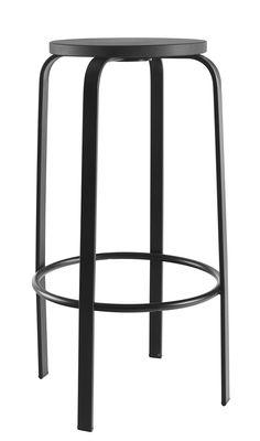 Mobilier - Tabourets de bar - Tabouret de bar Chico / H 64 cm - Bois & Pieds métal - Ondarreta - Noir - Acier, Hêtre teinté
