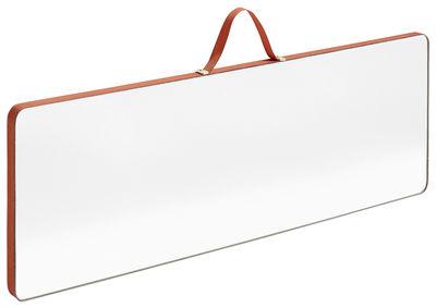 Miroir mural Ruban Large / Rectangle - L 43,5 x H 13,5 cm - Hay rouge en tissu